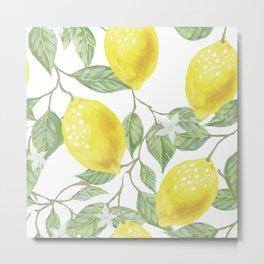 Lemon Tree Pattern Metal Print