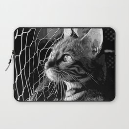 bengal cat yearns for freedom vector art black white Laptop Sleeve