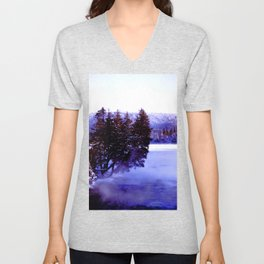 Winter Stream in the northern boreal forest Unisex V-Neck