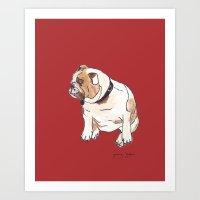 english bulldog Art Prints featuring English Bulldog by Tammy Kushnir