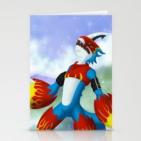 digimon Stationery Cards featuring Flamedramon by Zaukhes