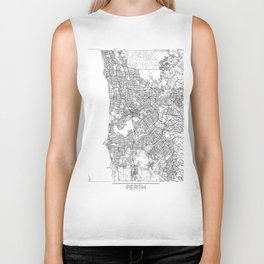 Perth Map White Biker Tank