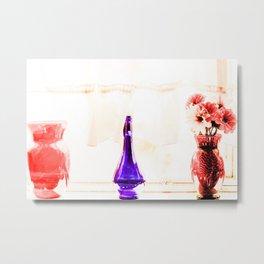 silk flowers in the red vase in kitchen Metal Print