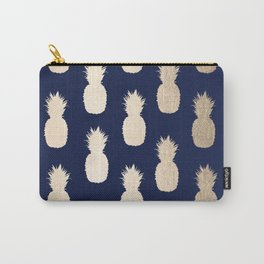 Gold Pineapple Pattern Navy Blue Carry-All Pouch