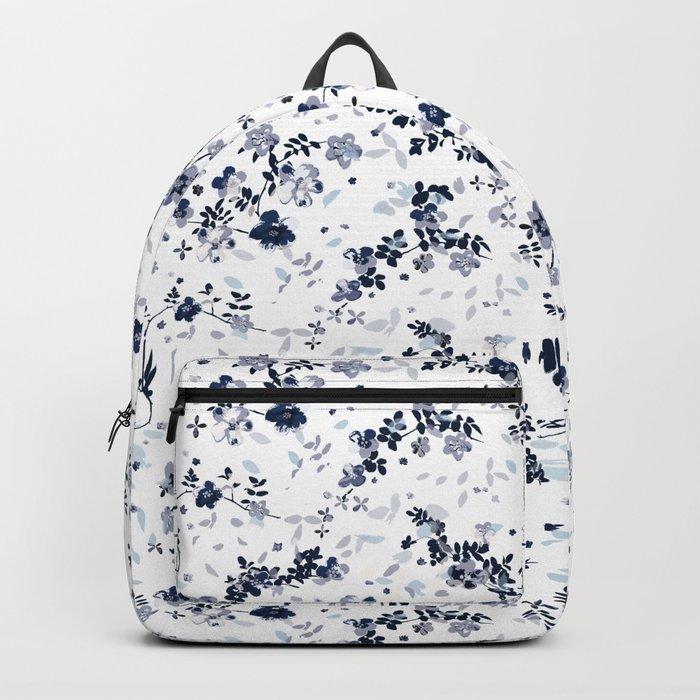 Indigo Blue Clematis Floral Pattern Backpack