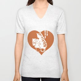 Valentine Cat and Mouse with Cheese and Heart Unisex V-Neck