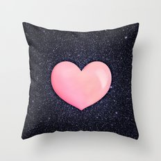 Pink heart on shiny black Throw Pillow