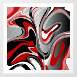 Liquify - Red, Gray, Black, White Art Print