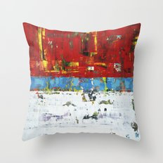 Folly Bright Red White Modern Art Abstract Painting Throw Pillow