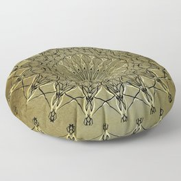 Black & Golden-Yellow Metallic Mandala on Faux Gold Foil Background (part of set) Floor Pillow