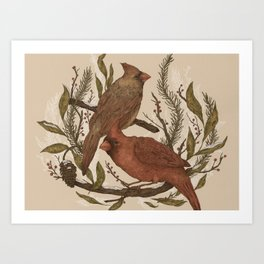 Wintery Cardinals Art Print