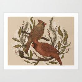 Wintery Cardinals Art Print