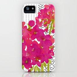 Vibrant Pink Geranium on Black and White Geometric Ground iPhone Case