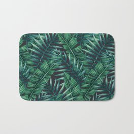 Palm and Banana Leaf Tropical Pattern Bath Mat