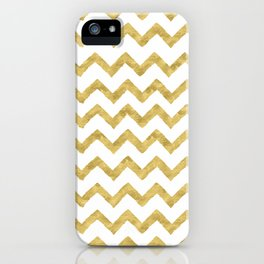 Chevron Gold And White iPhone Case
