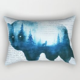 Wolf in the Forest | Double Exposure Wolf | Book Pages | Vintage Wolf Art Rectangular Pillow