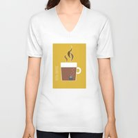 70s V-neck T-shirts featuring 70s Coffee by Morgane Cazaubon
