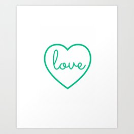 "Mint Green ""Love"" Print / Charming / Home Decor / Office Decor / Craft Space Decor Art Print"