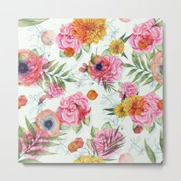 Colorful Flowers Pattern With Pink Roses Metal Print