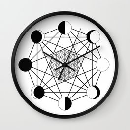 moon phase crystal grid Wall Clock