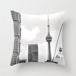 Monochrome Tower Throw Pillow