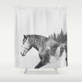 Horse   Abstract Photography   Art   Black-and-White   Animal   Double-Exposure   B&W   Fog Shower Curtain