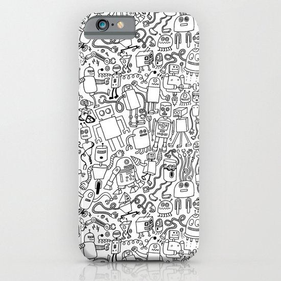 Infinity Robots Black & White iPhone & iPod Case