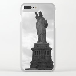 Black and white Statue of Liberty Clear iPhone Case