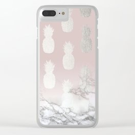 Golden Pineapple Madness on Marble Clear iPhone Case