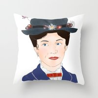 mary poppins Throw Pillows featuring Mary Poppins by Bubble Trump Ltd