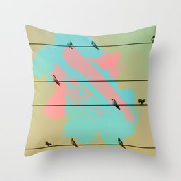Birds of a Feather, Birds on Wires Throw Pillow