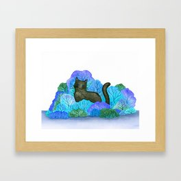 Blue Forest and Black Cat Watercolor Framed Art Print