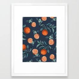 Lemon and Leaf Pattern VI Framed Art Print