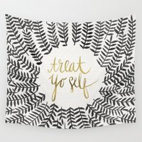 jackalope Wall Tapestries featuring Treat Yo Self – Black & Gold by Cat Coquillette