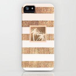 Copper & Cream Stripes & White Palm Trees iPhone Case