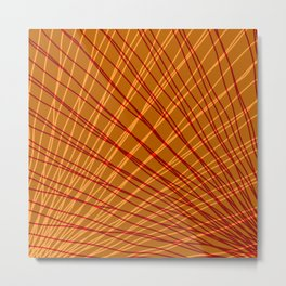 Rays of bronze light with mirrored red waves on mesh. Metal Print