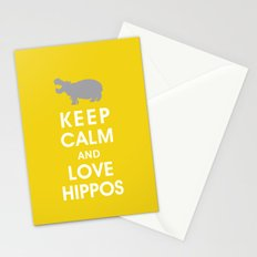 Keep Calm and Love Hippos Stationery Cards