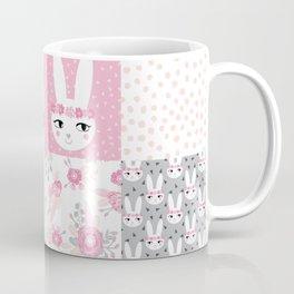 Bunny quilt baby decor newborn nursery charlotte winter pink grey decor for little girl Coffee Mug