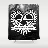 sam winchester Shower Curtains featuring I love Winchester bros  by BomDesignz