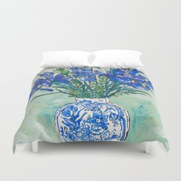 Iris Bouquet in Chinoiserie Vase on Blue and White Striped Tablecloth on Painterly Mint Green Duvet Cover