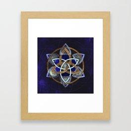 Golden Triskelion Mandala Framed Art Print