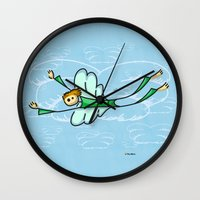 angel Wall Clocks featuring Angel by Giuseppe Lentini