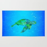 sea turtle Area & Throw Rugs featuring Sea Turtle  by MacDonald Creative Studios