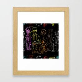 Res Dogs Rainbow Pattern Framed Art Print