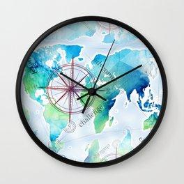 Watercolor map Wall Clock
