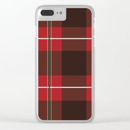 Red, Black and Green Striped Plaid Clear iPhone Case