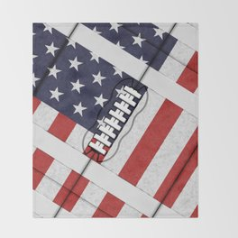 4th of July American Football Fanatic Throw Blanket