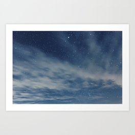 Night sky with stars and clouds Art Print