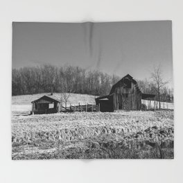 Days Gone By - Old Arkansas Barn in Black and White Throw Blanket