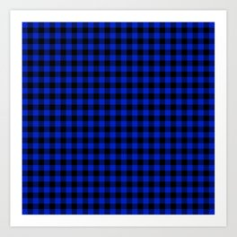 Cobalt Blue Cowboy Buffalo Check Plaid Art Print